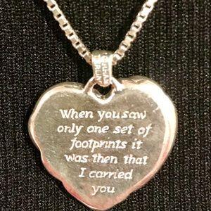 Gorham silver footprints necklace w chain